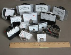 14 Vtg Analog Meters From Electronic Lab Equipment steampunk Mad Scientist Lt1