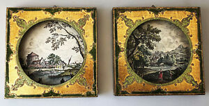 Pair Gold Gilt Hollywood Regency Shadow Box Picture Wall Hanging Unique Italy