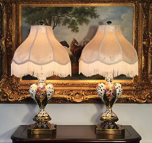 2 Italian Capodimonte Table Lamps Capo Di Monte Gold Gilt Hand Painted Porcelain