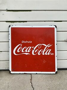 "Coca Cola  Vintage Metal Porcelain Folding Table Top In Spanish ""ENJOY"""