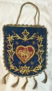 Antique Ottoman Purse Metallic Gold Embroidered Velvet Tughra In Heart Flowers