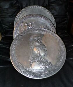 3 Antique Greek Chargers 12 Pewter Made In Greece Napoenon Aohnai High Relief