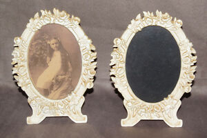 2 Vintage Metal Oval Picture Frames With Swing Foot On Back Floral Details Roses