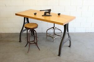 Vintage Industrial Dining Counter Table Kitchen Island Butcher Block Cast Iron