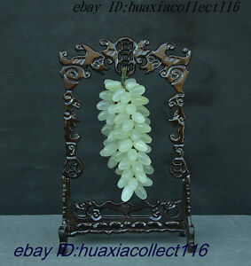 10 Old Chinese Natural Jade Pure Hand Carved Auspicious Wealth Grape Set Statue