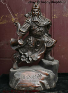 Antique China Buddhism Bronze Dragon Robe Guan Gong Guan Yu Long Warrior Statue