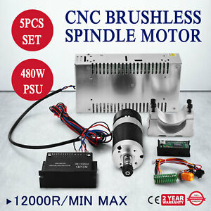 Cnc 400w Brushless Spindle Motor Speed Controller Mount 600w Psu Perfect