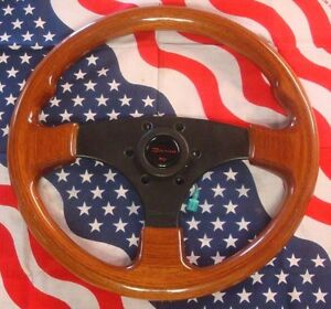 Vintage Dino Wood Steering Wheel 3 Spoke Made In Italy