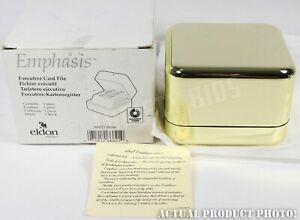 Eldon Emphasis Brass Executive Card File 200 2 25x4 Cards Rolodex Index Tabs