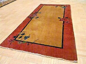 3x6 Chinese Rug Vintage Art Deco Authentic Hand Made Oriental Rug 1920s