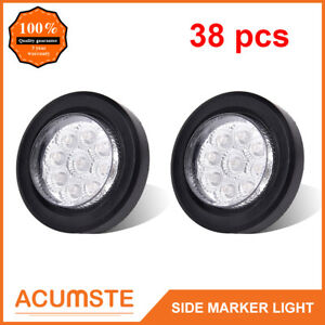 38pc 2 Round Led Marker Lights 9 Led Reflector Clear red Kits Grommet pigtail