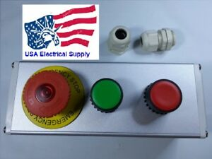 Emergency Stop Red Green Momentary Push Button Switch Station Light 12 24vac dc