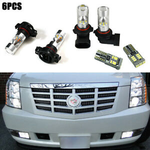 6 Pack White Led Fog Driving Drl Light Bulbs Combo For 2007 14 Cadillac Escalade