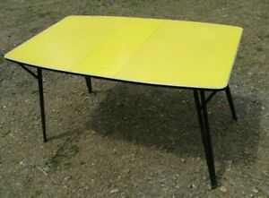 Vintage Daystrom Mid Century Yellow Formica Dinette Table Folding Legs With Leaf