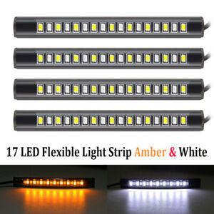 4pcs Motorcycle 17led Flexible Strip Light Turn Signal Indicator White Amber Hot