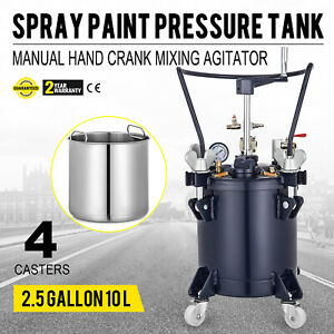 10 Liters Spray Paint Pressure Pot Tank 1 4 Air Inlet Commercial Mixing Agitator