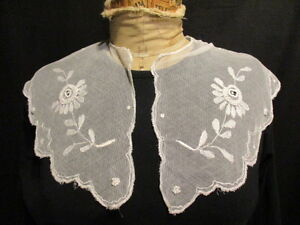 Antique French Tambour Lace Bertha Collar Dress Collar C 1880 Gossamer Weight