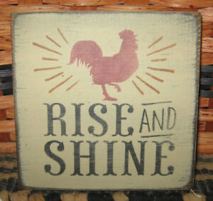 Primitive Country Rise Shine Mini Sq Sign Rooster