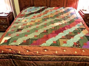 Log Cabin Antique Quilt Pieced Ribbon Squares 77x65 Hand Stitched