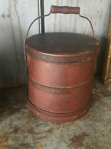 Early Old Primitive Firkin Bucket Top Of Stack
