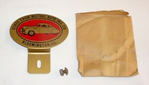 Nos 1940s License Plate Topper Orig Package Bloomington Il State Farm Ins