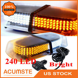240 Led Emergency Flash Warning Roof Top Strobe Snow Plow Light Amber White Us
