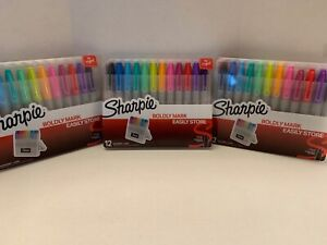 3 pack Sharpie Markers W hard Case 12ct Each Fine Point Assorted Colors New