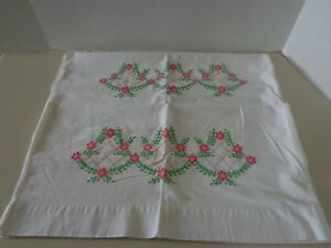 2 Vintage Embroidered Pillowcases Pink Flowers