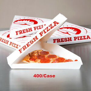 Choice White Clay Coated Clamshell Pizza Slice Box 400 case