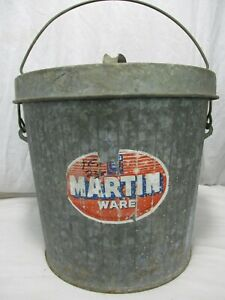 Vintage Martin Ware Galvanized Metal Trash Garbage Can 5 Gallon Pail Bucket