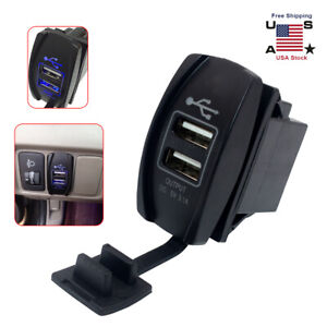 Blue Led 12 24v 3 1a Car Dual Usb Phone Charger Port Socket Kit For Power Supply