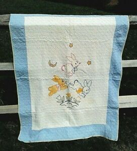 Antique Baby Applique Quilt Hand Stitched Bunny Rabbits Blue And White 39 X 52