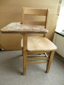 Vintage Child S School Desk Chair Combo Oak Sturdy Writing Surface