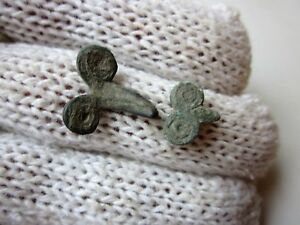 Lot Of 2 Ancient Roman Bronze Small Amulets Applications Phallos 1 2ad