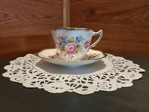 1 Signed Rosina Bone China Tea Cup Saucer Set Made In England