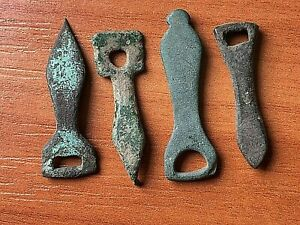 Lot Of 4 Ancient Roman Bronze Classic Strap Ends Circa 200 300 Ad Very Rare