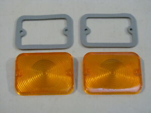 New 1962 1965 Ford Falcon 1962 1963 Fairlane Amber Parking Light Lenses Pair
