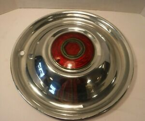 Vintage Packard Hubcap Red Cloisonne Center Rare Wheel Cover Chrome 15
