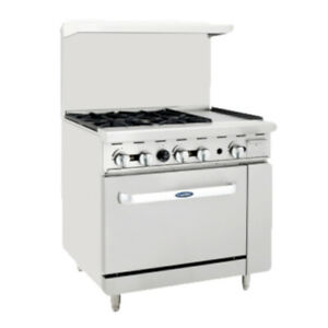 Atosa Ato 4b12g 36 Cookrite Gas Restaurant Range With Four Burners And Griddle