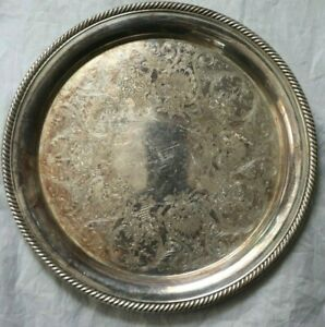 International Silver Co Castleton Silver Plate Tray Platter No 670 Embellished