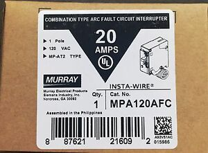 Murray Mpa120afc 20 amp 1 Pole 120 volt Combination Type Arc Fault Circuit Inter