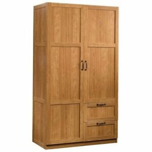 Pemberly Row Wardrobe Armoire In Highland Oak