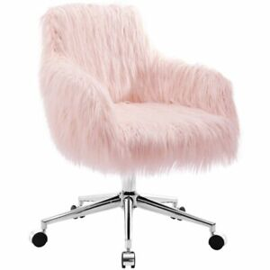 Riverbay Furniture Faux Fur Swivel Office Chair In Pink And Chrome