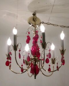 Vintage Italian Brass Chandelier Light Fixture Red Cut Glass Center