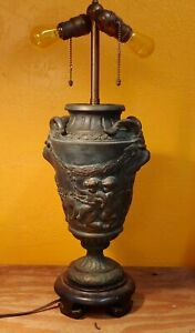 Unusual Vtg Bronze Urn Lamp Neoclassical Greek Style With Pan Cherubs And Goats
