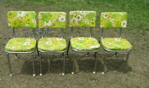 Dinette Yellow Floral Print Chairs Mid Century Modern