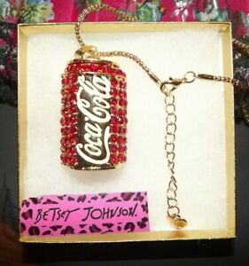 Betsey Johnson Red Coke Can Coca Cola Necklace Enamel Crystal Gift Box Bag NWT