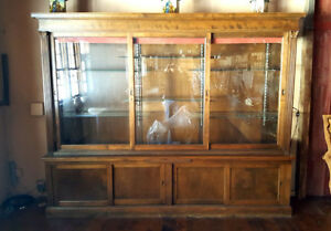 Large Vintage Hardware Store Type Glass Wood Show Case Display Case