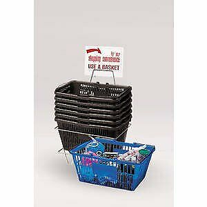 Heavy Duty Plastic Shopping Basket With Strong Wire Handle set Of 6 8 Deep