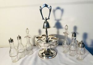Antique Cruet 6 Piece Condiment Set Working Bell Silverplate Etched Floral